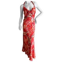 Nina Ricci by Peter Copping Romantic Ribbon Pattern Halter Tie Back Silk Dress