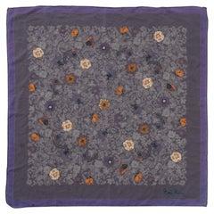 Nina Ricci Floral Purple Silk Summer Neckerchief