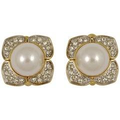Nina Ricci Gold Plated Faux Pearl Rhinestone Clip on Earrings circa 1980s