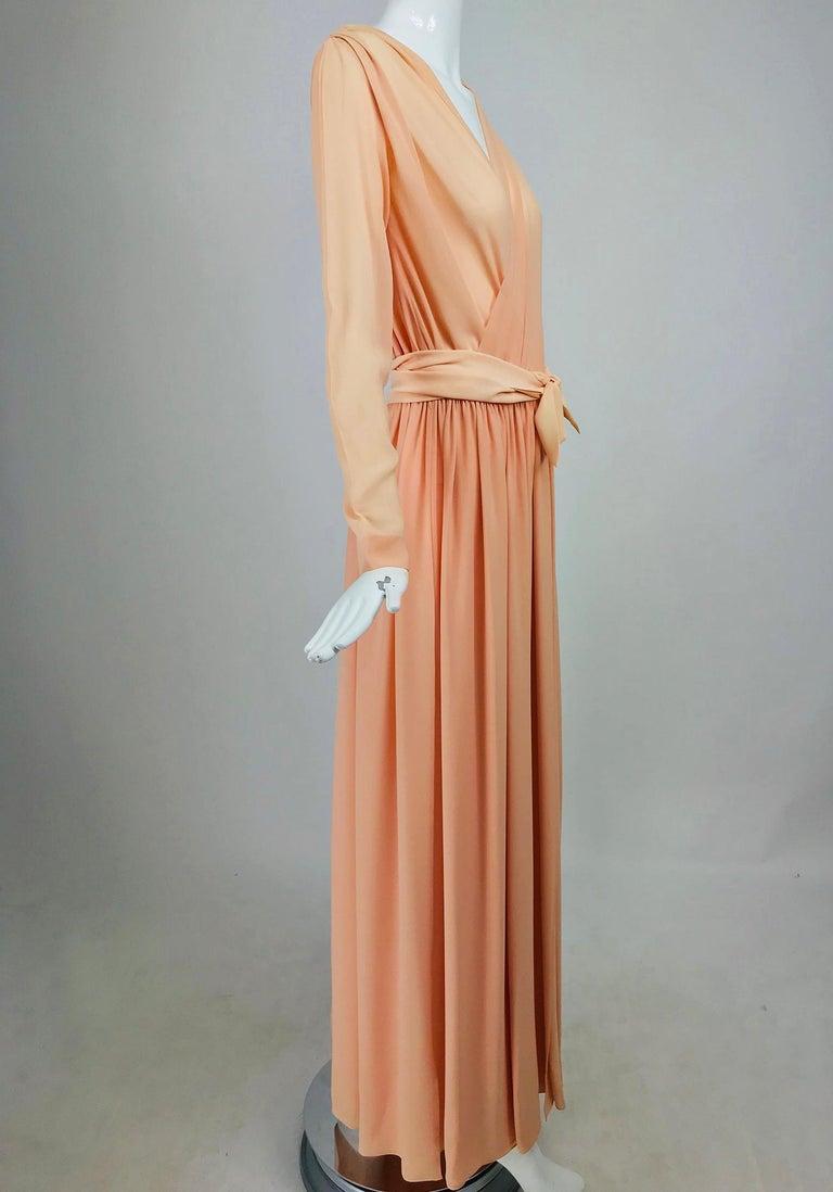 Nina Ricci Haute Boutique Demi Couture Peach Silk Evening Gown 1980s For Sale 5