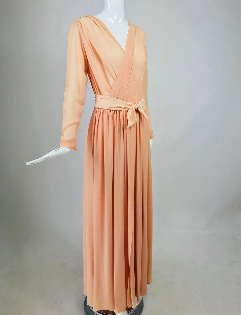Nina Ricci Haute Boutique Demi Couture Peach Silk Evening Gown 1980s For Sale 6