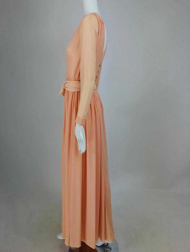 Brown Nina Ricci Haute Boutique Demi Couture Peach Silk Evening Gown 1980s For Sale