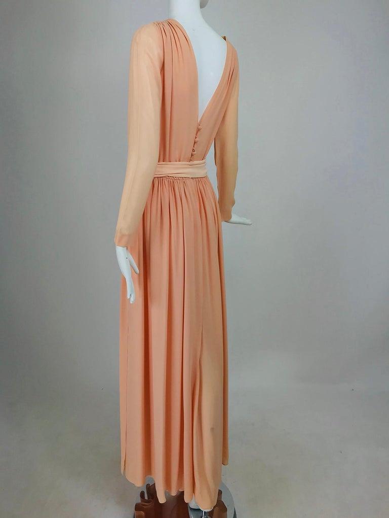 Women's Nina Ricci Haute Boutique Demi Couture Peach Silk Evening Gown 1980s For Sale