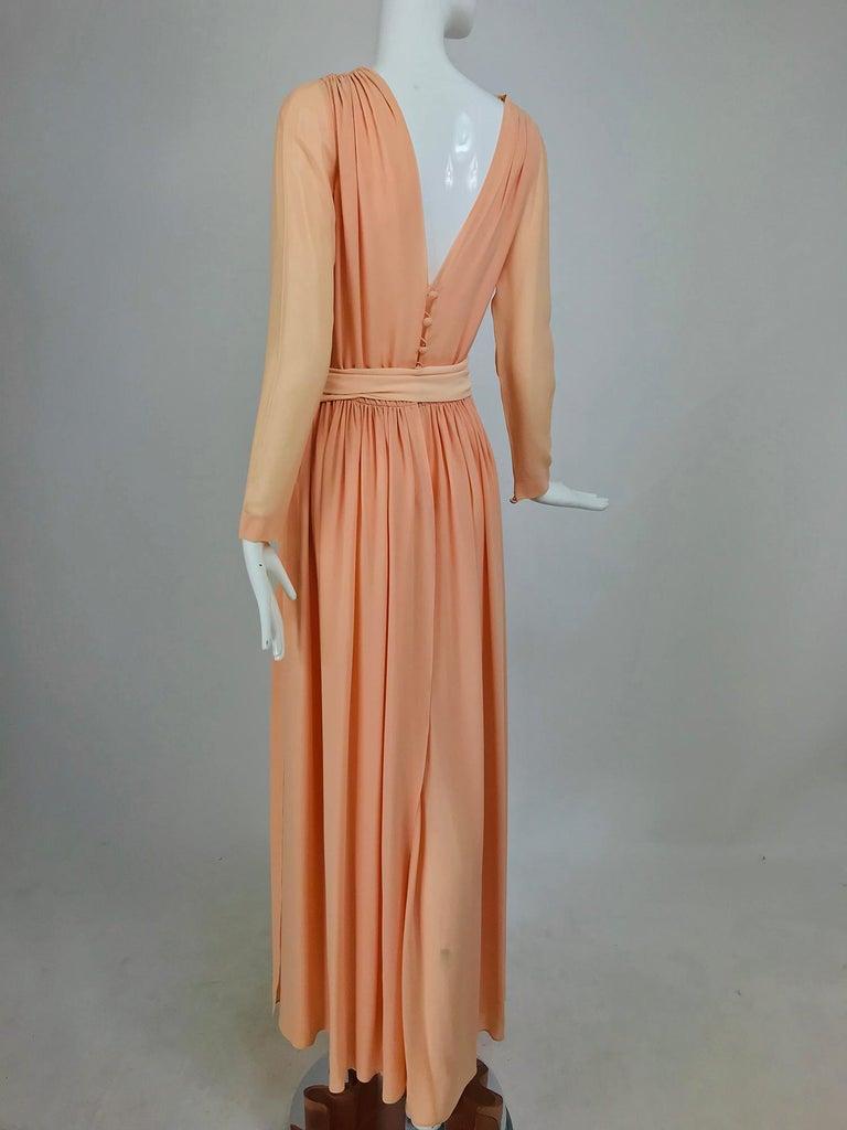 Nina Ricci Haute Boutique Demi Couture Peach Silk Evening Gown 1980s For Sale 1