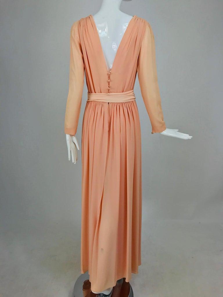 Nina Ricci Haute Boutique Demi Couture Peach Silk Evening Gown 1980s For Sale 2
