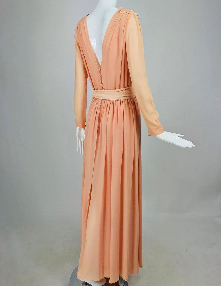Nina Ricci Haute Boutique Demi Couture Peach Silk Evening Gown 1980s For Sale 3