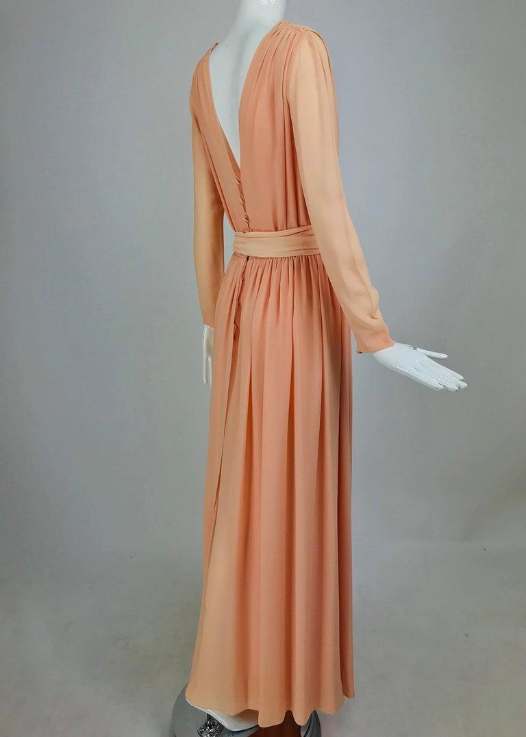 Nina Ricci Haute Boutique Demi Couture Peach Silk Evening Gown 1980s For Sale 4