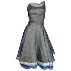 Nina Ricci Layered Silk Color Block Dress