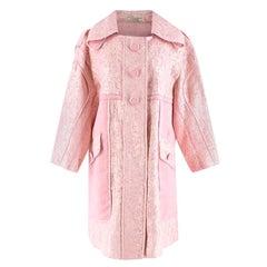 Nina Ricci Light Pink Organza-coated Lame Coat - Size US 10