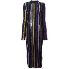 NINA RICCI Long Sleeve Sequin Embellished Knit Bayadere Dress Large