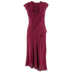 Nina Ricci Maroon Pintucked Asymmetric Zip Detail Silk Dress  38