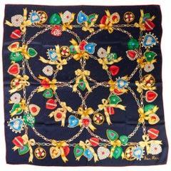 Nina Ricci Navy Jewel Charms Silk Scarf