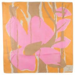 Nina Ricci Paris Silk Scarf Abstract 1970s Print in Pink and Orange