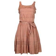 Nina Ricci Peach Sleeveless Dress with Pleating sz IT 38