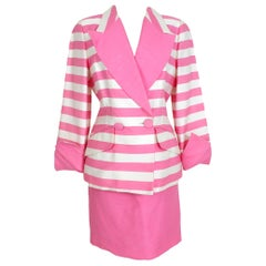 Nina Ricci Pink White Silk Pinstripe Evening Cocktail Skirt Suit and Jacket