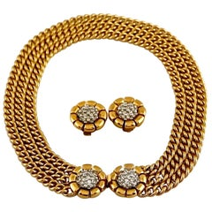 NINA RICCI Rhinestone Cluster Flower Earrings and Multi Chain Necklace Set