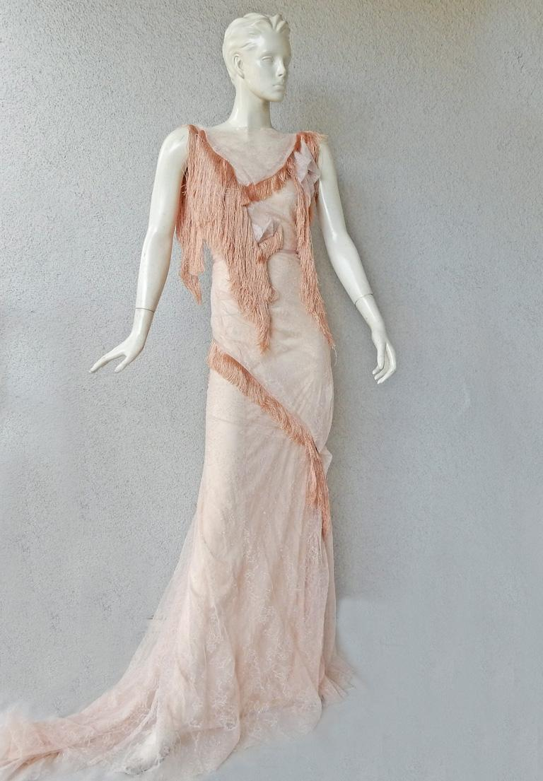 Gray Nina Ricci Romantic Runway Delight Lace Confection Dress Gown For Sale
