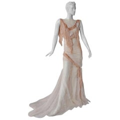 Nina Ricci Romantic Runway Lace Fringe Dress Gown