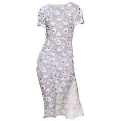 NINA RICCI Rose Pivone & Natural Flower Fil Coupes Midi Dress FR36 US 2-4