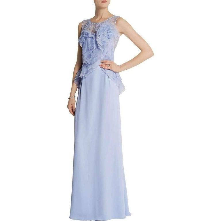 Blue NINA RICCI Ruffle Lavender Silk Sleeveless Maxi Gown FR38 US 4-6 For Sale