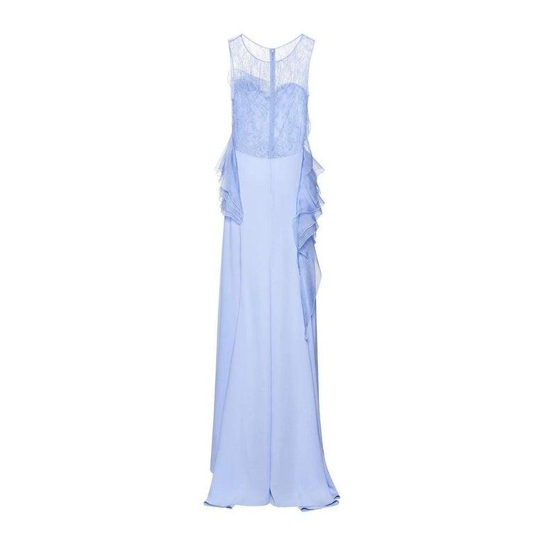 Women's NINA RICCI Ruffle Lavender Silk Sleeveless Maxi Gown FR38 US 4-6 For Sale
