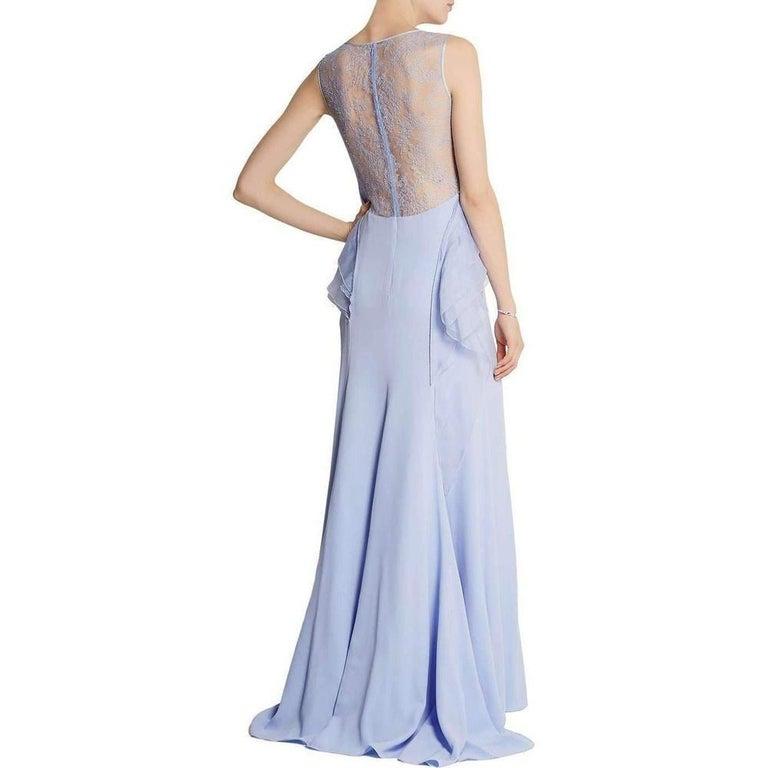 NINA RICCI Ruffle Lavender Silk Sleeveless Maxi Gown FR38 US 4-6 For Sale 1