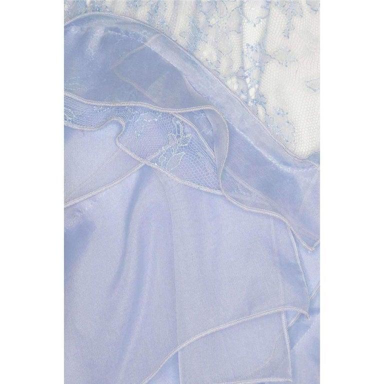 NINA RICCI Ruffle Lavender Silk Sleeveless Maxi Gown FR38 US 4-6 For Sale 2