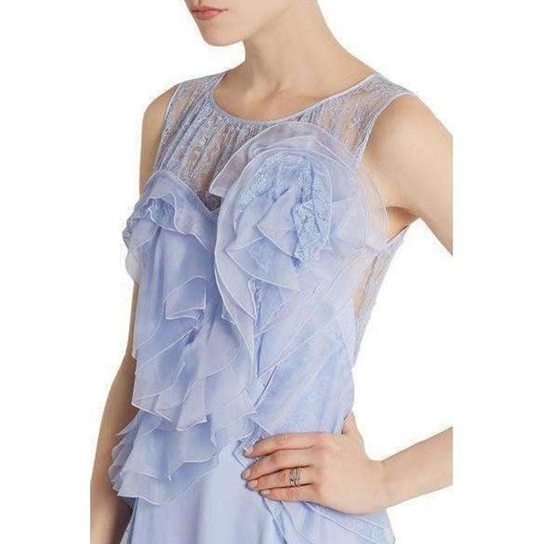 NINA RICCI Ruffle Lavender Silk Sleeveless Maxi Gown FR38 US 4-6 For Sale 3