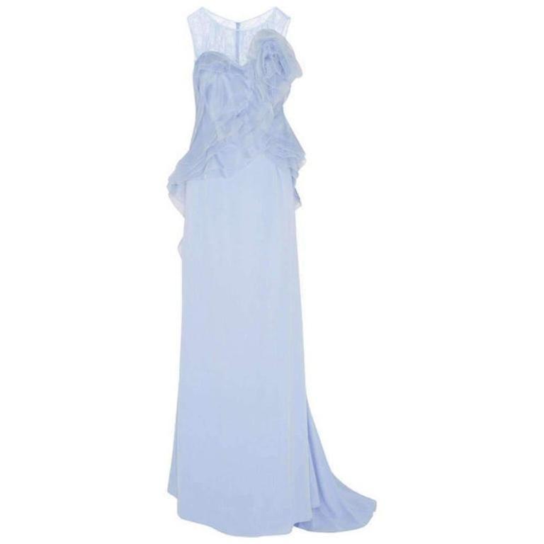 NINA RICCI Ruffle Lavender Silk Sleeveless Maxi Gown FR38 US 4-6 For Sale