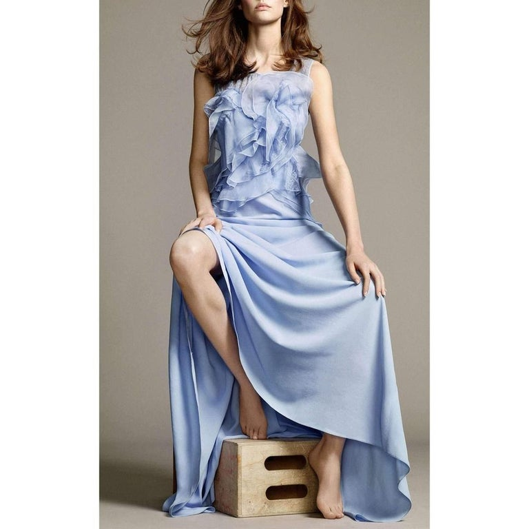 NINA RICCI Ruffle Lavender Silk Sleeveless Maxi Gown FR38 US 4-6 In New Condition For Sale In Brossard, QC