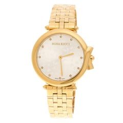 Nina Ricci Silver Gold-Plated Stainless Steel Classic Women's Wristwatch 37MM