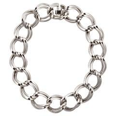 Nina Ricci Silver Plated Double Chain Link Collar Necklace circa 1980s