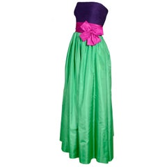 Nina Ricci Strapless Dress Green Taffeta and Purple Silk Evening Gown w Pink Bow
