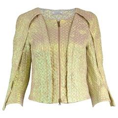 Nina Ricci Textured Iridescent Gold Lamé Futuristic Women's Blazer Jacket