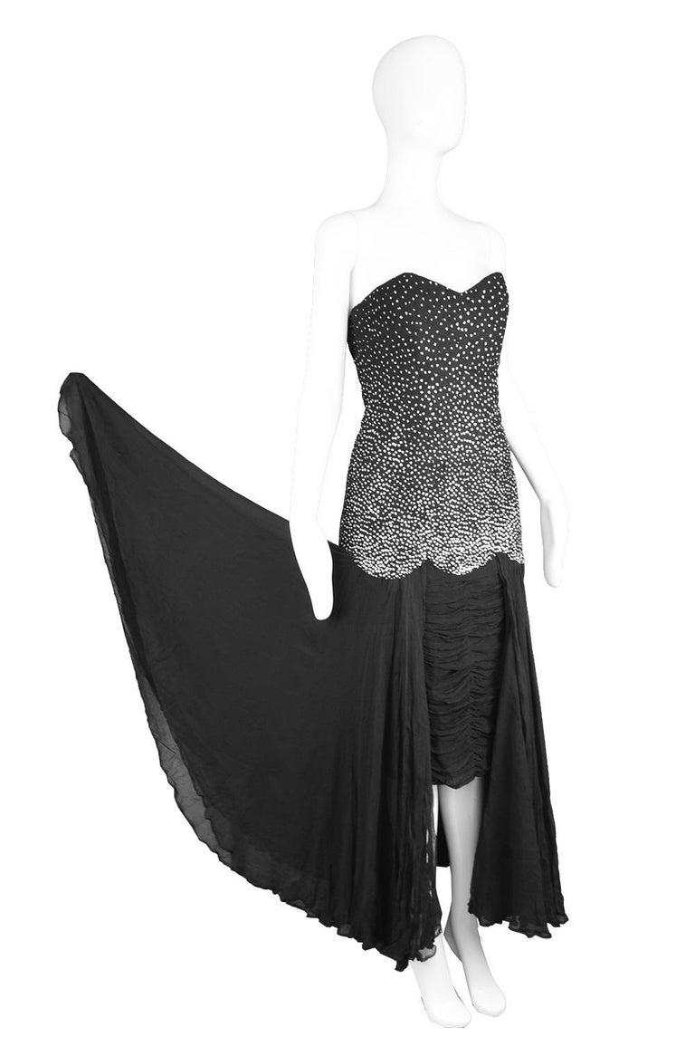Women's or Men's Nina Ricci Vintage Black Silk Chiffon & Silver Glitter Strapless Dress, 1980s For Sale