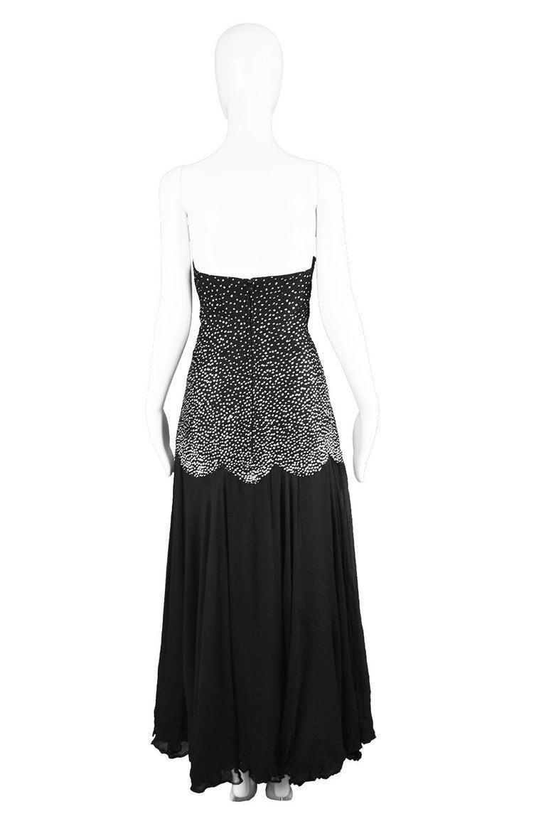 Nina Ricci Vintage Black Silk Chiffon & Silver Glitter Strapless Dress, 1980s For Sale 3