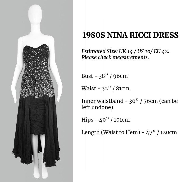 Nina Ricci Vintage Black Silk Chiffon & Silver Glitter Strapless Dress, 1980s For Sale 5