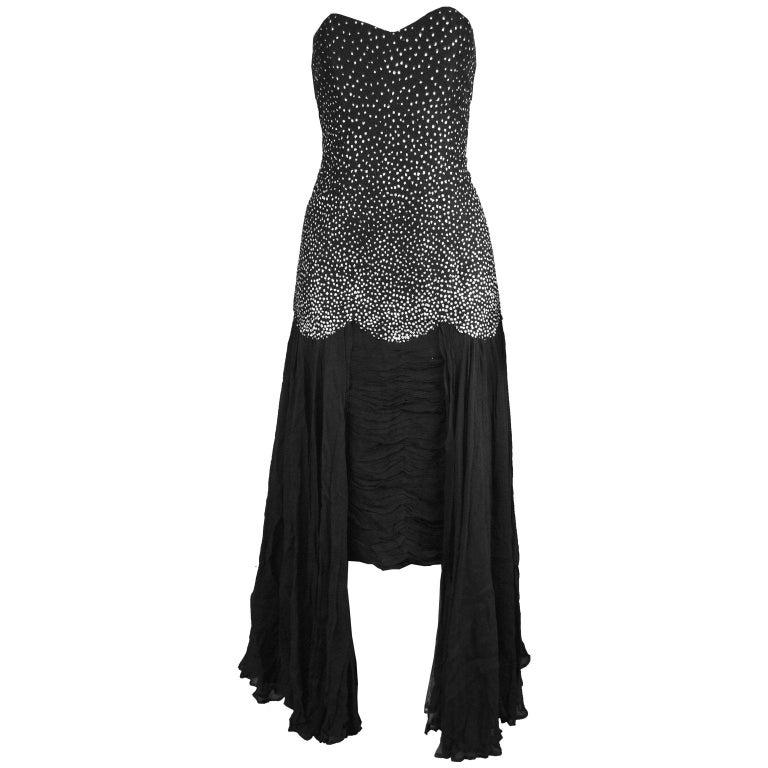 Nina Ricci Vintage Black Silk Chiffon & Silver Glitter Strapless Dress, 1980s For Sale