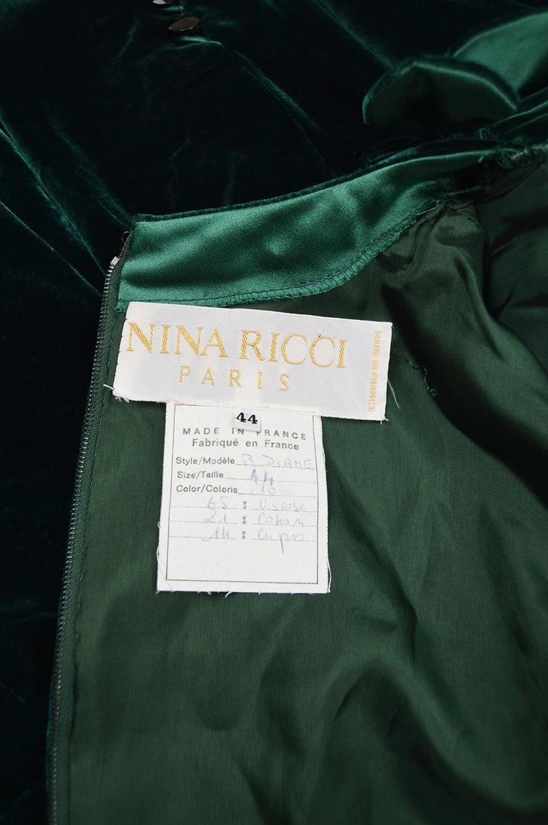 Nina Ricci Vintage Dark Green Velvet Swag Detail Evening Dress, 1980s For Sale 5
