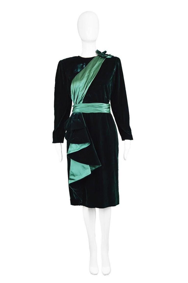 "Nina Ricci Vintage Dark Green Velvet Swag Detail Evening Dress, 1980s  Estimated Size: roughly a UK 12-14/ US 8-10/ EU 40-42. Please check measurements.  Bust - 38"" / 96cm Waist - 30"" / 76cm Hips - 40"" / 101cm Length (Shoulder to Hem) - 41"" /"