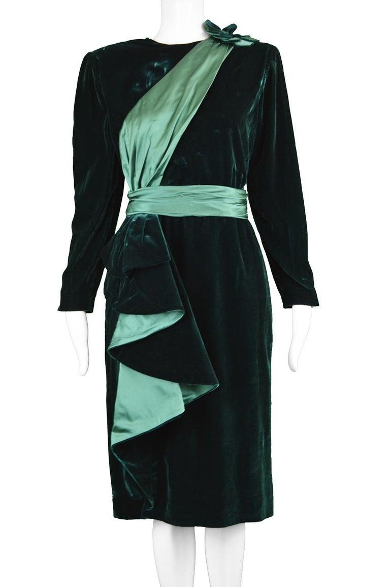 Black Nina Ricci Vintage Dark Green Velvet Swag Detail Evening Dress, 1980s For Sale