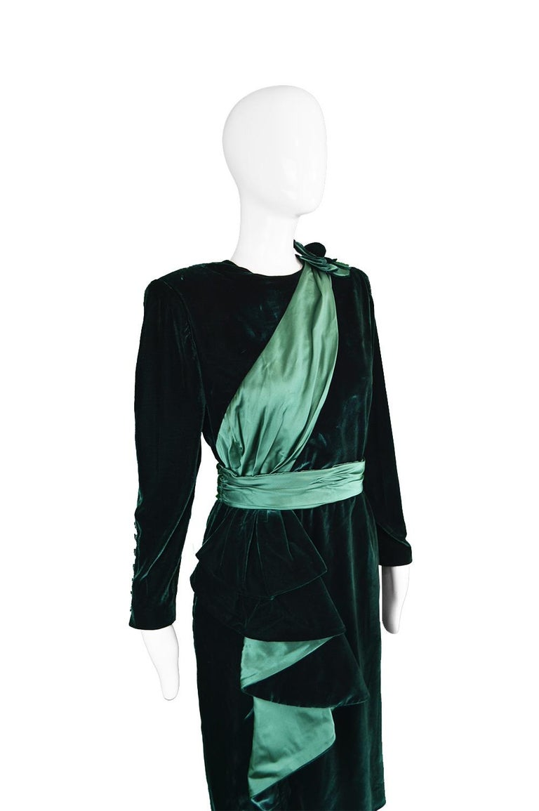 Nina Ricci Vintage Dark Green Velvet Swag Detail Evening Dress, 1980s In Excellent Condition For Sale In Doncaster, South Yorkshire