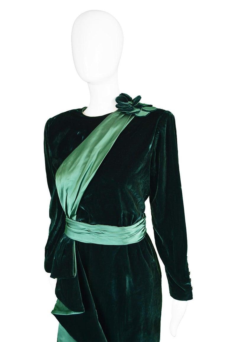 Women's Nina Ricci Vintage Dark Green Velvet Swag Detail Evening Dress, 1980s For Sale