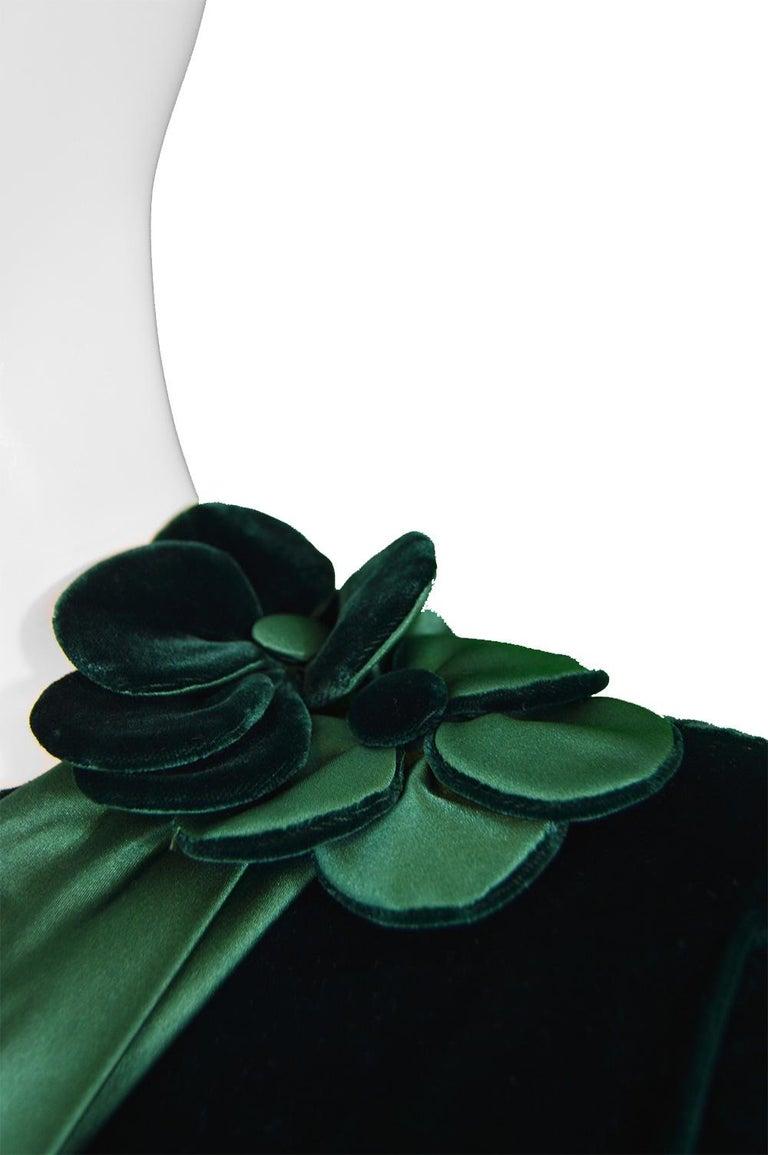 Nina Ricci Vintage Dark Green Velvet Swag Detail Evening Dress, 1980s For Sale 1