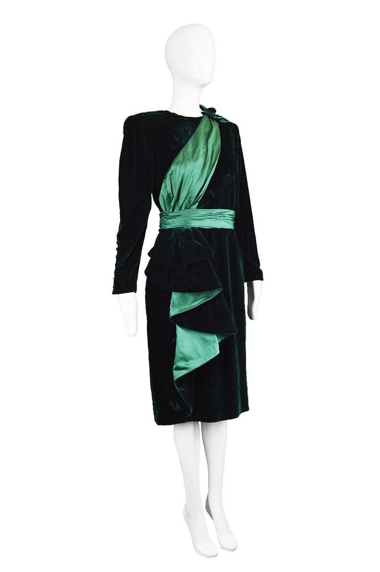 Nina Ricci Vintage Dark Green Velvet Swag Detail Evening Dress, 1980s For Sale 2
