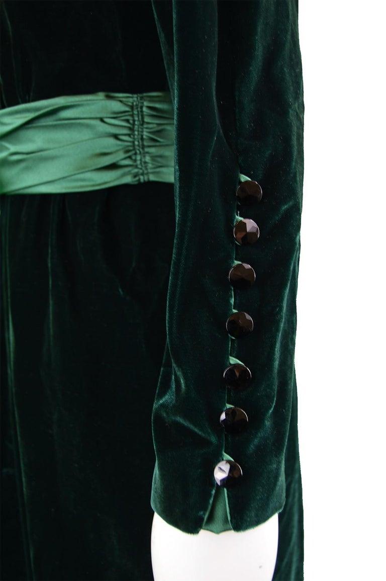 Nina Ricci Vintage Dark Green Velvet Swag Detail Evening Dress, 1980s For Sale 3