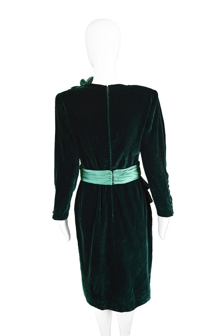 Nina Ricci Vintage Dark Green Velvet Swag Detail Evening Dress, 1980s For Sale 4