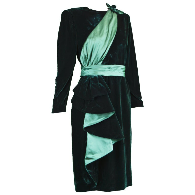 Nina Ricci Vintage Dark Green Velvet Swag Detail Evening Dress, 1980s For Sale