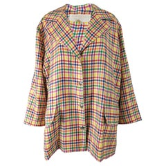 Nina Ricci Vintage Oversized Wool Checked Coat, 1980s