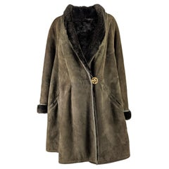 Nina Ricci Vintage Shearling Sheepskin Swing Coat
